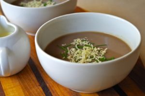 Basler Mehlsuppe (Swiss Carnival Soup): Roasted Flour Soup Butter, flour, beef stalk, and grated ...