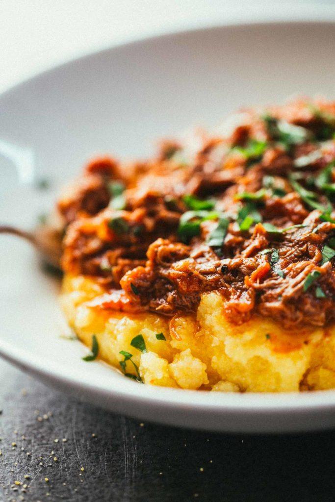 Crockpot Braised Beef Ragu with Polenta Recipe
