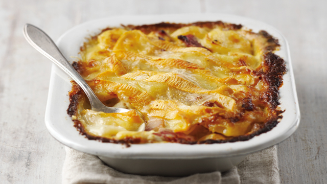 Switzerland Tartiflette: Smoky bacon, Reblochon cheese, caramelized onions and nutty cream