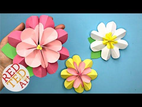 3D Spring flower: Construction paper flower crafts step by step