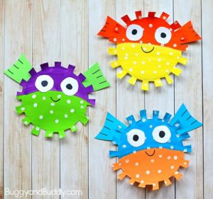 Paper Plate Pufferfish Craft for Kids – cutting practice for little hands