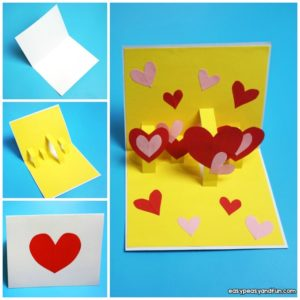 Heart Valentines Day Construction Paper Pop Up Card