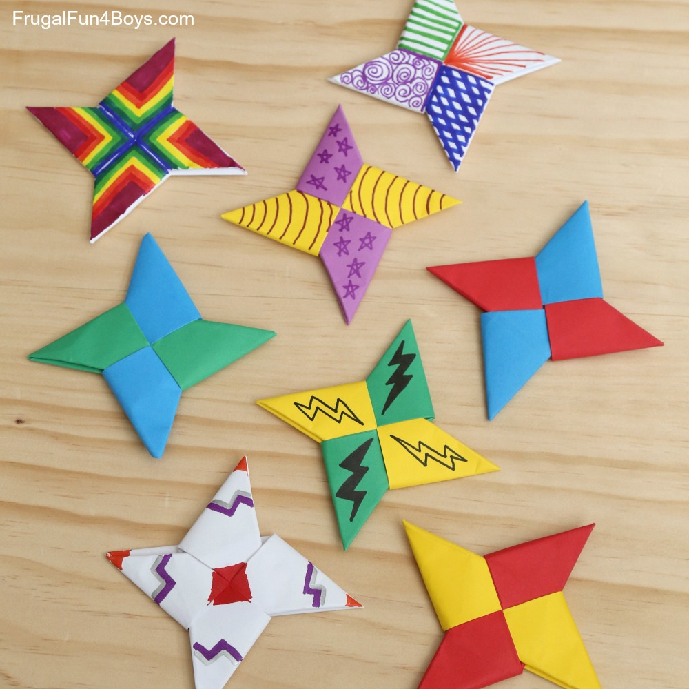 Make Ninja Stars with Construction Paper and Sharpie