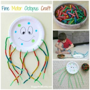 Fine Motor Craft for Kids – Paper Plate Octopus