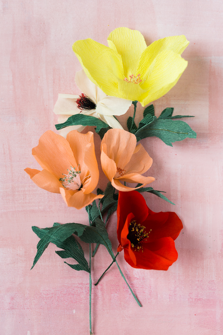 Unique paper flowers and DIY own flower stamens