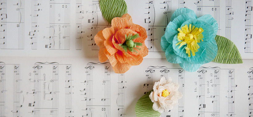 Beautiful Crepe paper flower crafts which are great for decorating handmade gifts