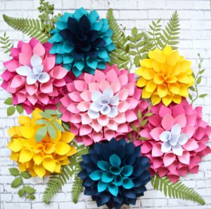 Classic Giant dahlia Flowers Construction Paper Crafts for Wall Art