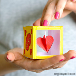 Make Heart Box Paper Craft with construction Paper