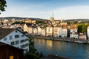 Lindenhof hill Historic center of Zurich Switzerland with a public square