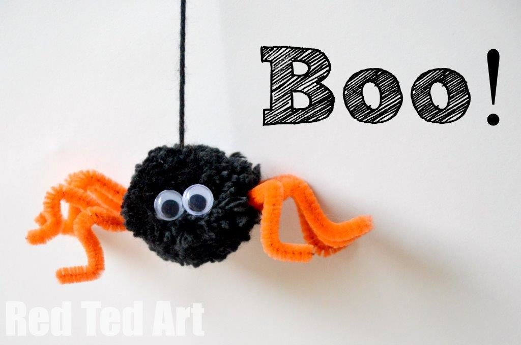 Web an Adorable Halloween Pompom Pipe Cleaner Spider with wiggle eyes