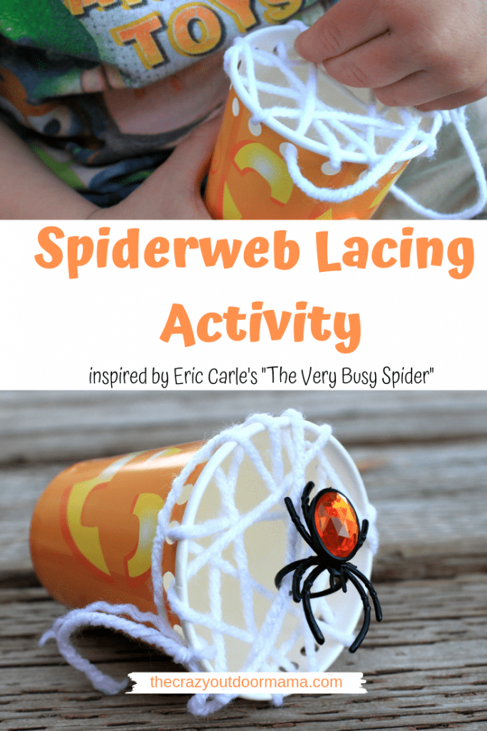 Keep your toddler hand busy with this easy spiderweb lacing activity