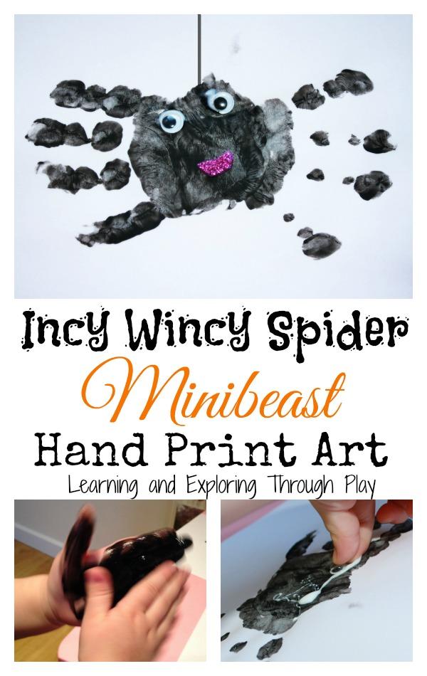 Happy Halloween incy wincy spider art – toddler handprint and wiggle eyes