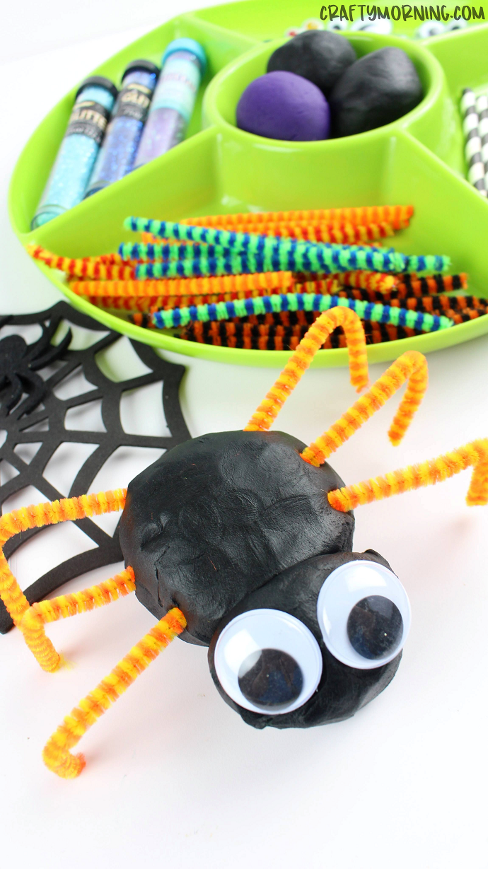 Build cute and spooky spiders with play dough, pipe cleaners and googly eyes
