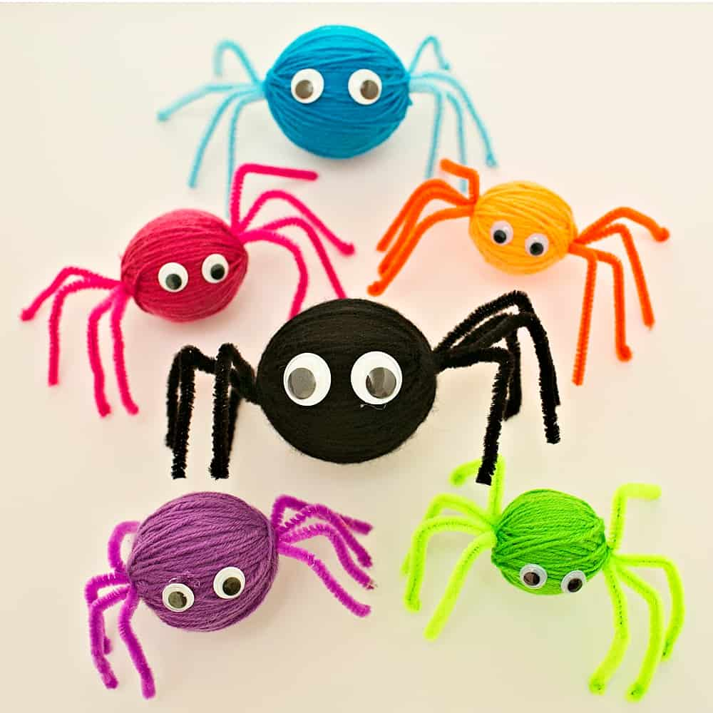 Make creepy-crawly cute spiders with styrofoam balls, yarn pipe cleaner, and wiggle eyes
