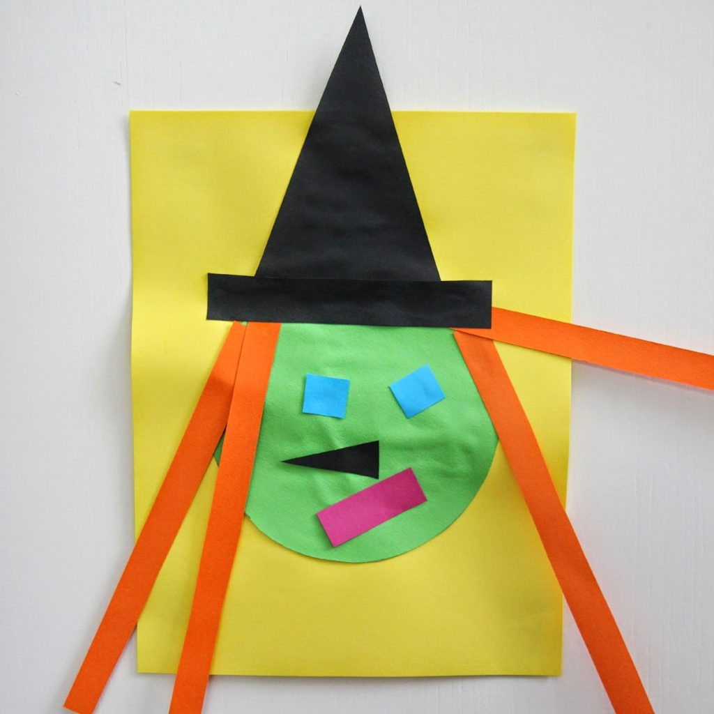 Toddlers Learn shapes with Easy Halloween Witch Craft –