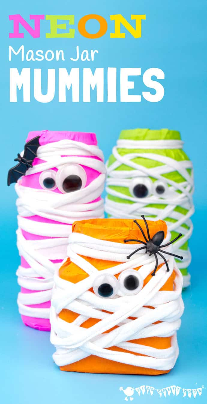 Do Colorful and Creative Halloween Neon Mason Jar Mummies with Yarn, Jar and Bright Tissue Paper