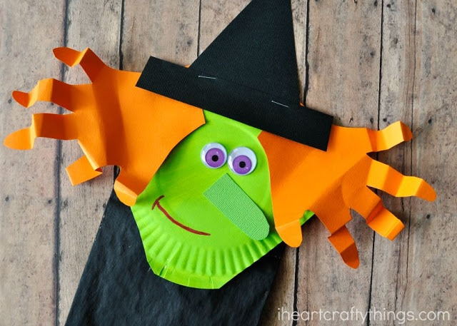 Make Eye-Catching Halloween Paper Bag Witch Craft for Kids with Paper Plates Lime Green Paint an ...