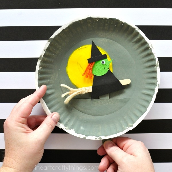 Create a Playful Halloween Witch with Paper Plate, Bright colors and Cardstock