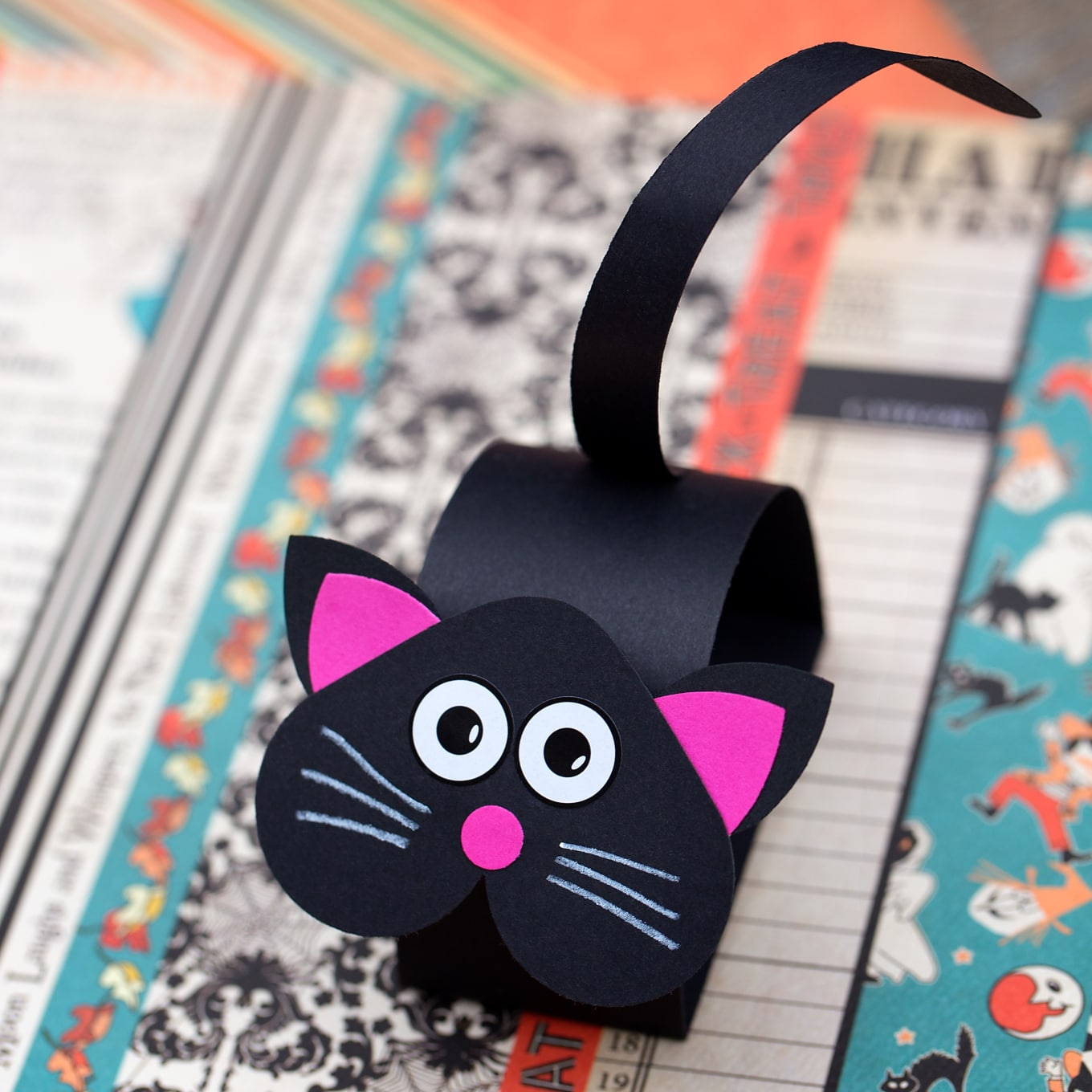 Make a Paper Bobble Head Up Down Bright Black Cat Halloween