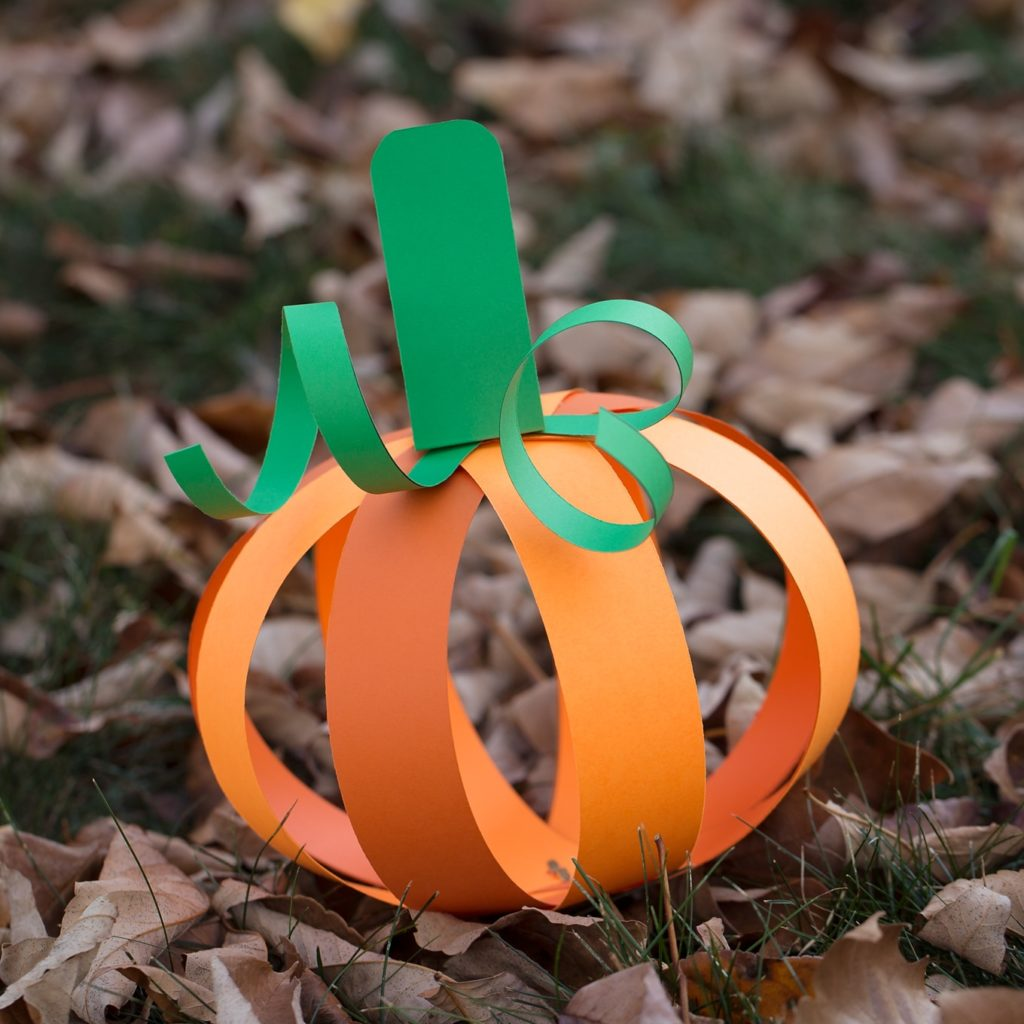 Do Pumpkin Craft for Kids with Bright Orange and Green Paper Strips for this Halloween