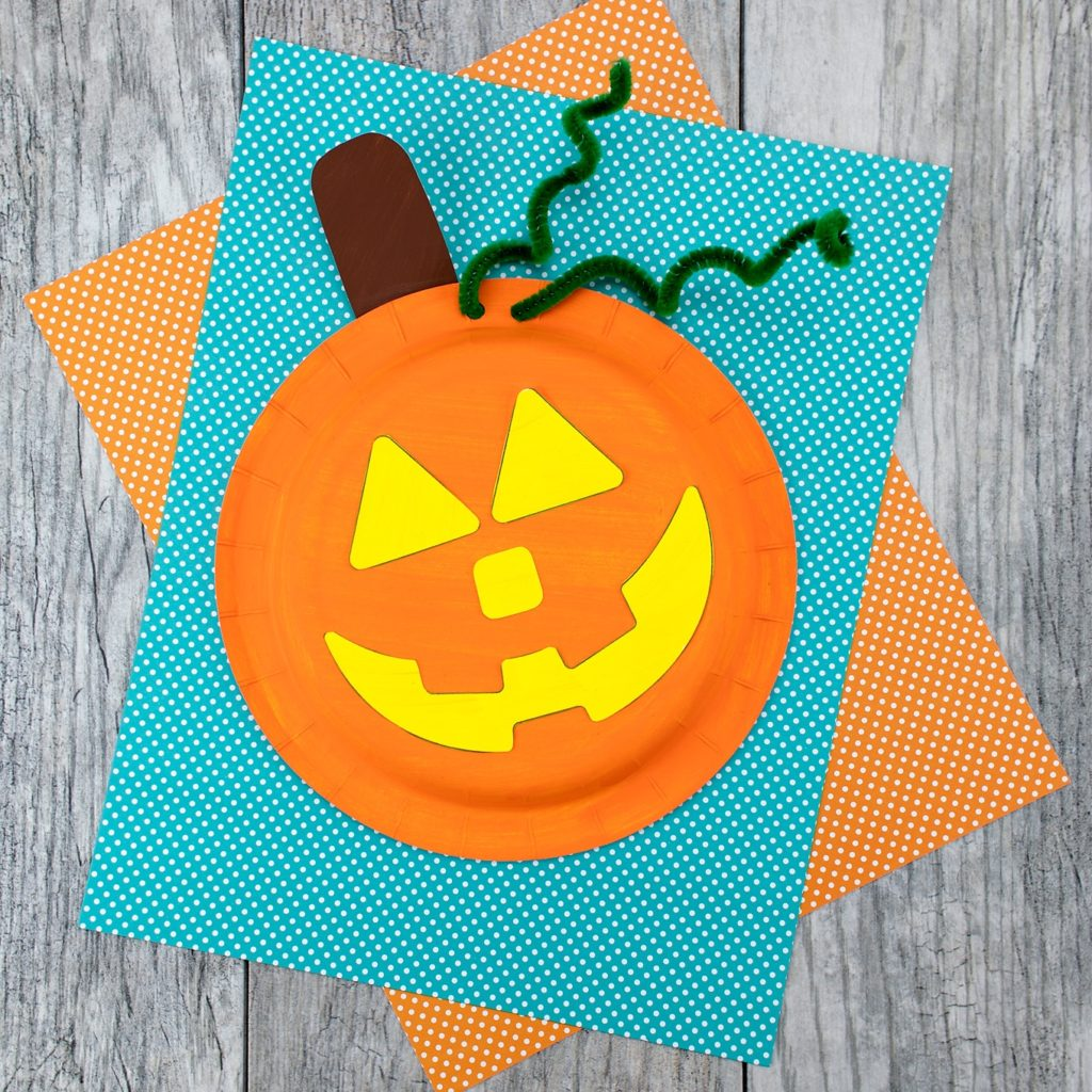 Try to make these Bright Halloween Paper Plate Pumpkins for Toddler Craft