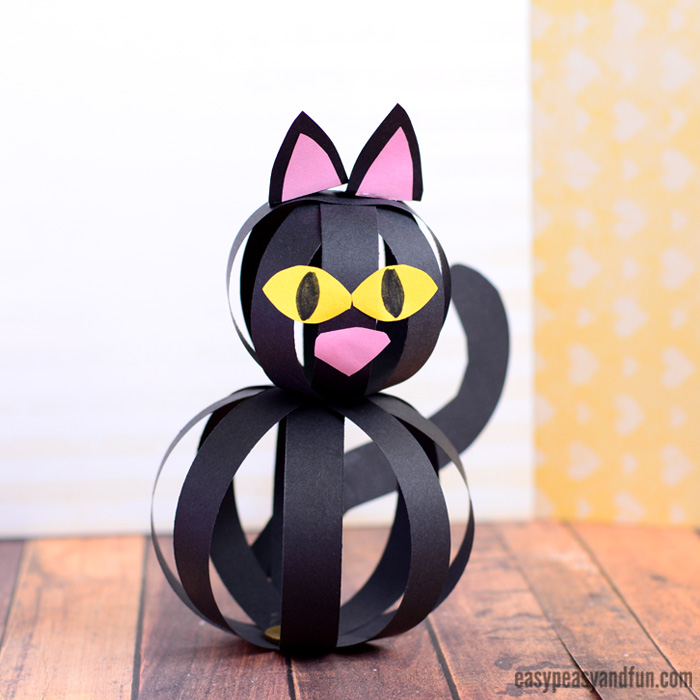 Do Easy Paper Strip Black Cat for Halloween Toddler Craft