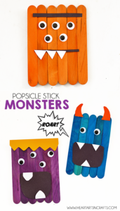 Make some Super Easy Popsicle Stick Monsters Craft