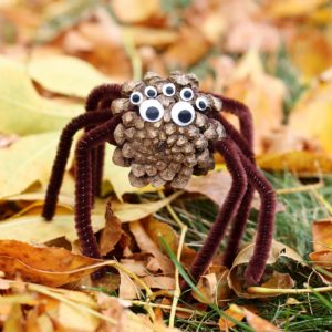 Seasonal Crafts for Nooks and Shelves Pinecone Spiders: Creepy Cute and Scary Halloween Spider C ...