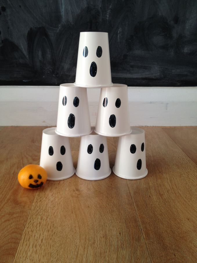 Halloween Papercup Ghost stack and Bowling Game
