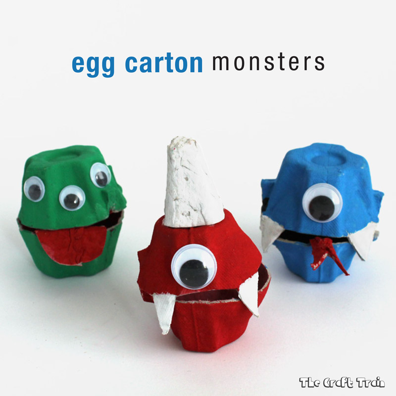 Cute Little Halloween Egg Carton Monsters craft for kids – for Recycling/Repurposing lovers
