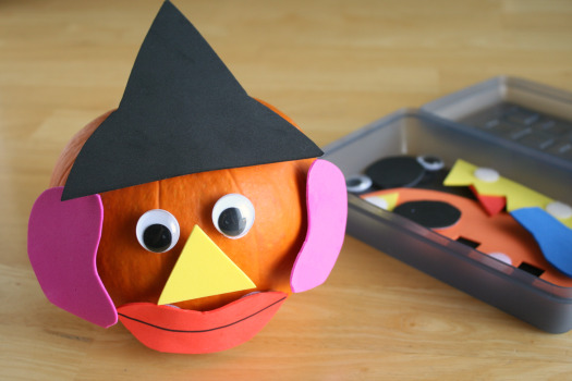 Mix and Match Pumpkin Face Craft / Game for Kids with Velcro, Foam, and Pumpkin