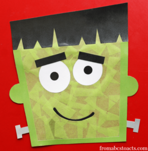 Frankenstein Sun Catcher Toddler Craft with Contact Paper and Tissue Paper