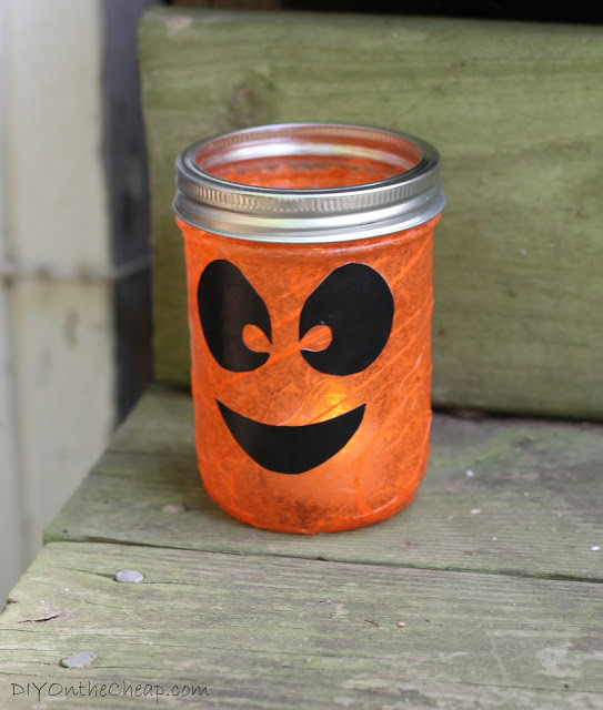 Make spooky Halloween lanterns with Mod Podge Tissue Paper Mason Jar and tealight candles