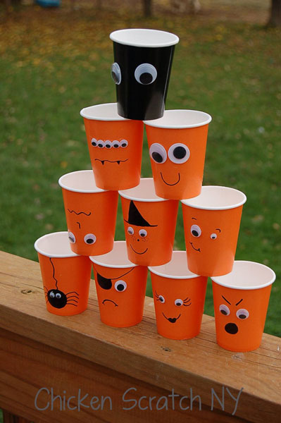 Halloween party decor – cute Halloween Character Cups with orange cups and googly eyes