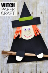 Craft an adorable Witch for this Halloween with construction paper, cardstock and glue