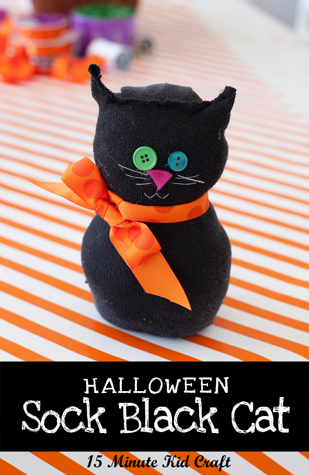 Repurpose your old socks into a Halloween black sock cat in just 15 minutes