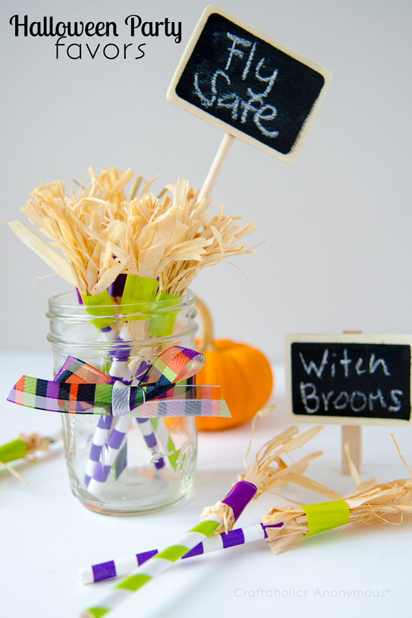 Craft Witch Brooms with Striped Paper Straws as Halloween Party Favors and Table Decor