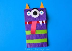 Kids will love to make these Halloween paper bag monsters with paper bags, paint, and glue