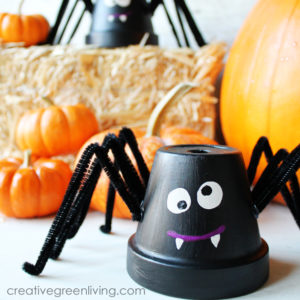 Upcycle Your Terracotta Flower Pots into Friendly Halloween Spiders with Pot, Paint and Cleaners