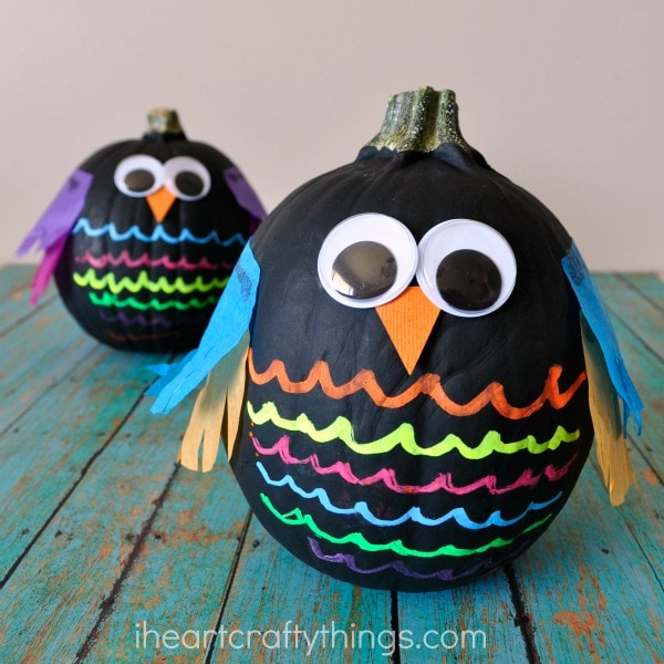 Create Colorful Painted Pumpkin Owl with Your Young Crafters and Skip Halloween Pumpkin Carving