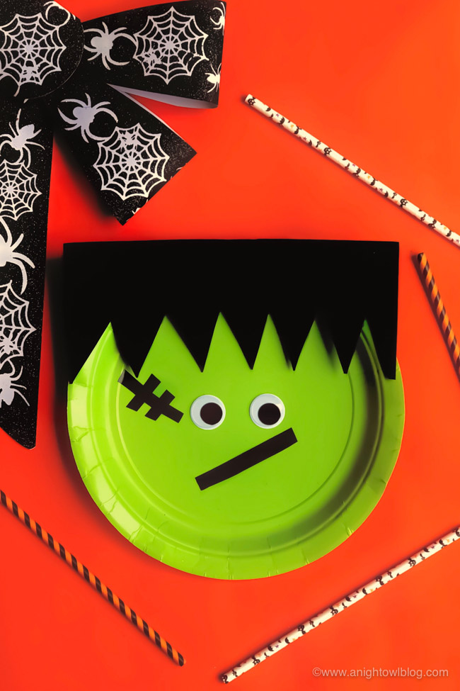 Kids Halloween Adorable Frankenstein – Crafted with Paper Plate, Foam and Googly Eyes