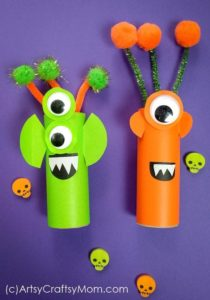 Vibrant and Cute Cardboard Tube Aliens Halloween Kids Craft