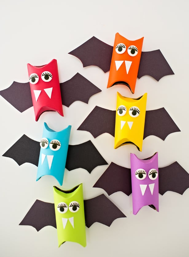 Create Whimsical Halloween Rainbow Paper Tube Bat Craft for Kids: Paper Tube, Construction Paper ...