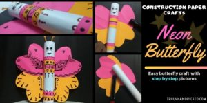 Easy & Colorful Construction Paper Craft – Egyptian Neon Butterfly Puppet