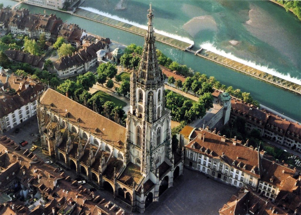 Late Gothic architecture – Bern Minster 1893 Swiss Reformed Cathedral Tallest in Switzerland